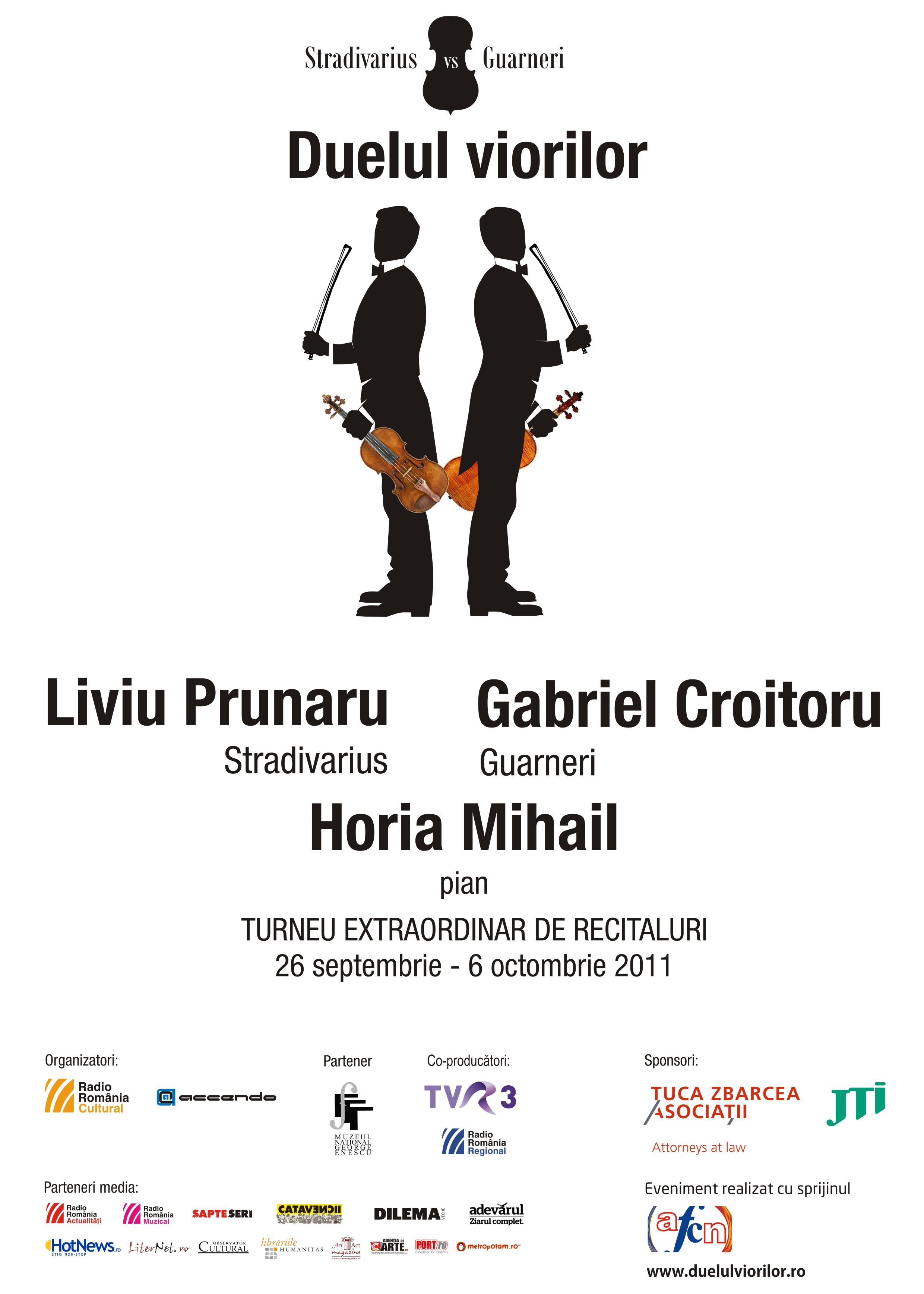 Doi mari violonişti români  cu instrumente celebre, create de lutierii Stradivarius şi Guarneri, vor concerta săptămâna viitoare la Târgu Mureş.