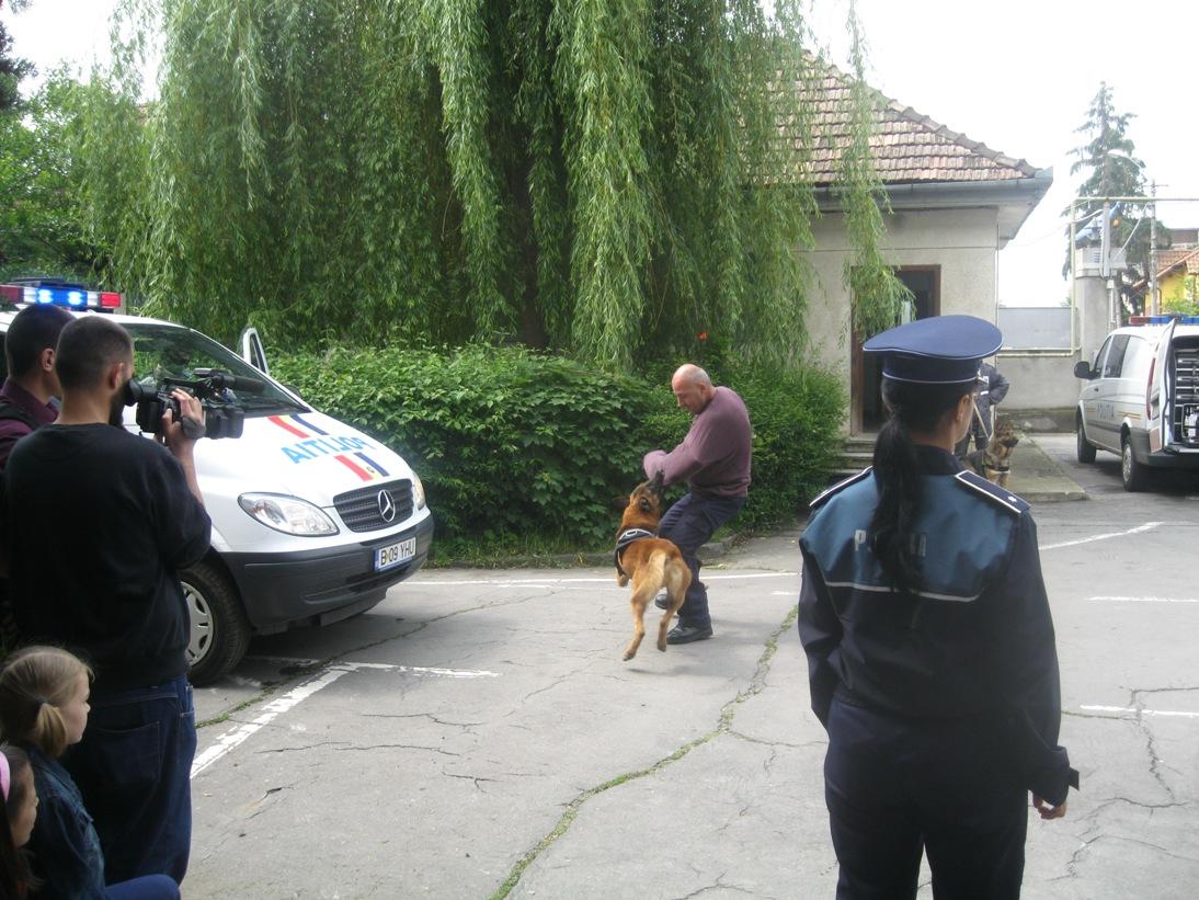 De ziua lor, copiii au văzut în acţiune câinii poliţişti.