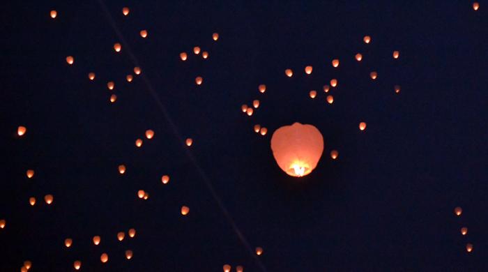 95 de lampioane au fost lansate, în această seară, la Alba Iulia şi Chişinău, pentru a sublinia 'necesitatea reîntregirii naţionale după 95 de ani de la Marea Unire