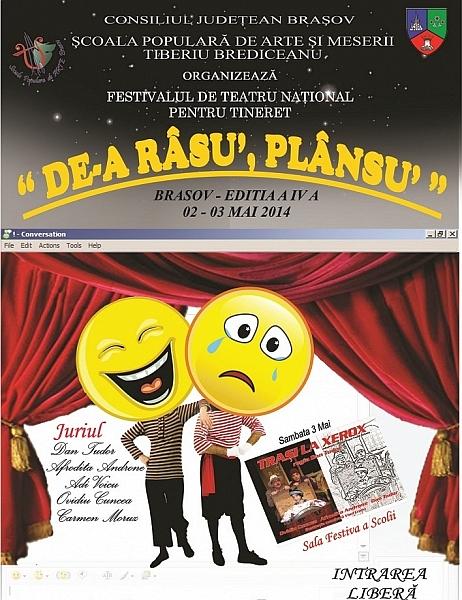 """La Braşov se fac înscrieri pentru Festivalul de Teatru ,,De-a Râsu' Plânsu'"""" adresat tinerilor amatori"""