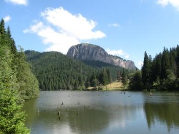 În zona localităţii harghitene Lacu Roşu, circulaţia se desfăşoară doar pe un singur sens din cauza ploilor abundente de ieri