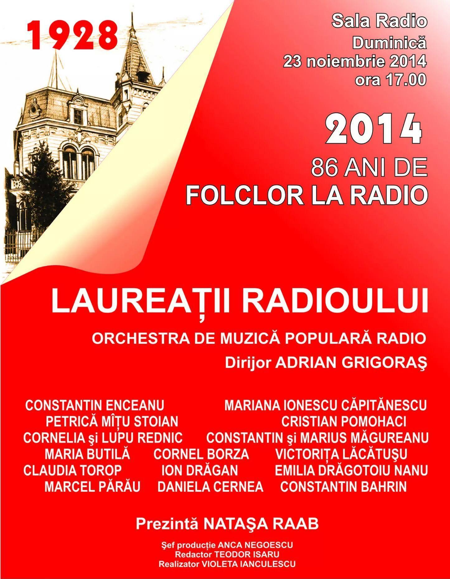 86 de ani de folclor la Radio – Laureaţii Radioului
