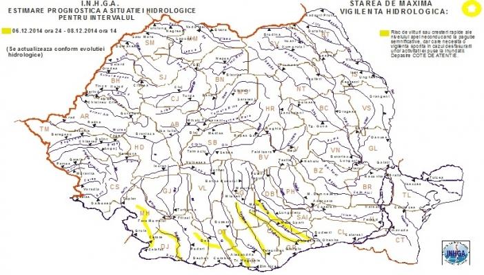 Cod galben de inundaţii pe câteva râuri din sudul ţării
