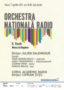Afis concert 7 aprilie Sala Radio