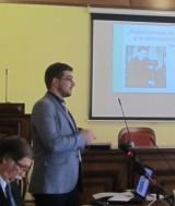 """Foto: prof. Alin Negrea """"George Enescu și folclorul"""" (Simpozionul George Sbârcea; Biblioteca Municipală Toplița-Harghita)"""