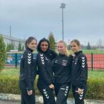 CSM Tg.-Mureș, handbal feminin - Carla Lăcătuș, Sarah Darie, Tania Coșarcă și Mihaela Evi (Sursa foto: facebook.com - CSM Tîrgu Mureș - Handbal)